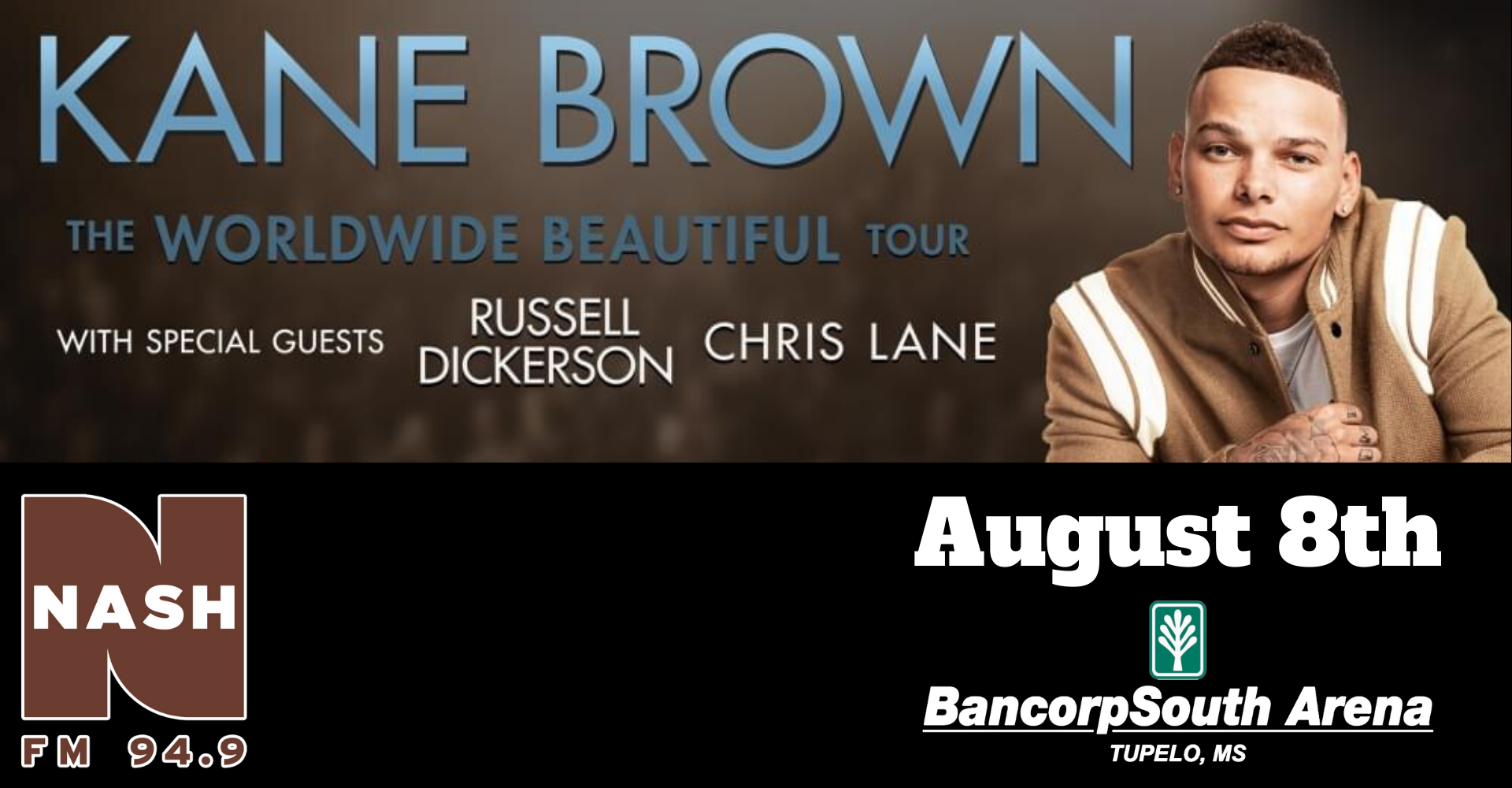 Kane Brown at the BancorpSouth Arena- August 8th