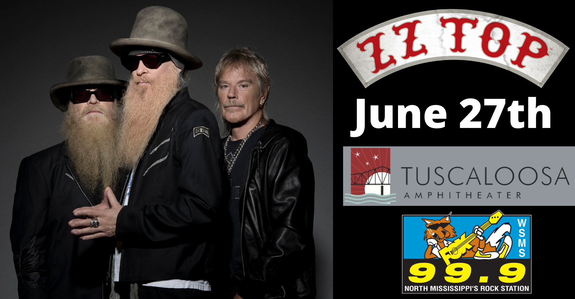ZZ Top at Tuscaloosa Amphitheater – June 27th