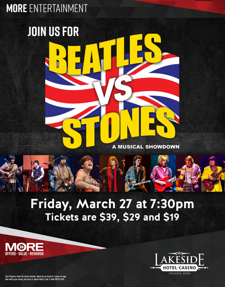 (POSTPONED) Beatles vs Stones at Lakeside Casino