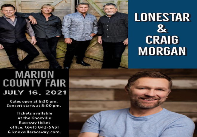 Lonestar w/Craig Morgan July 16 at the Marion County Fair