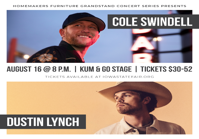 Cole Swindell & Dustin Lynch Live at the Iowa State Fair, Mon Aug 16