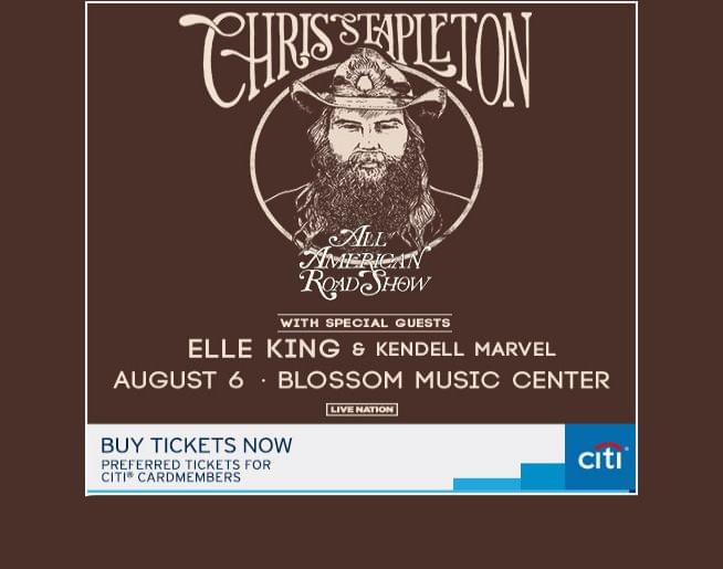 Chris Stapleton w/ Elle King & Kendell Marvel at Blossom 8/6 – Get Tickets NOW!