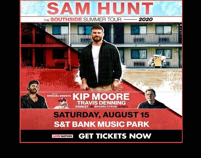 Sam Hunt with special guests Kip Moore & Travis Denning – Get tickets here!