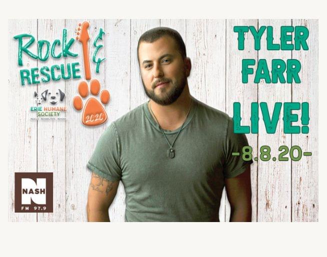 Tyler Farr Headlines the Rock & Rescue Charity Concert for The Erie Humane Society Sat. Aug 8!