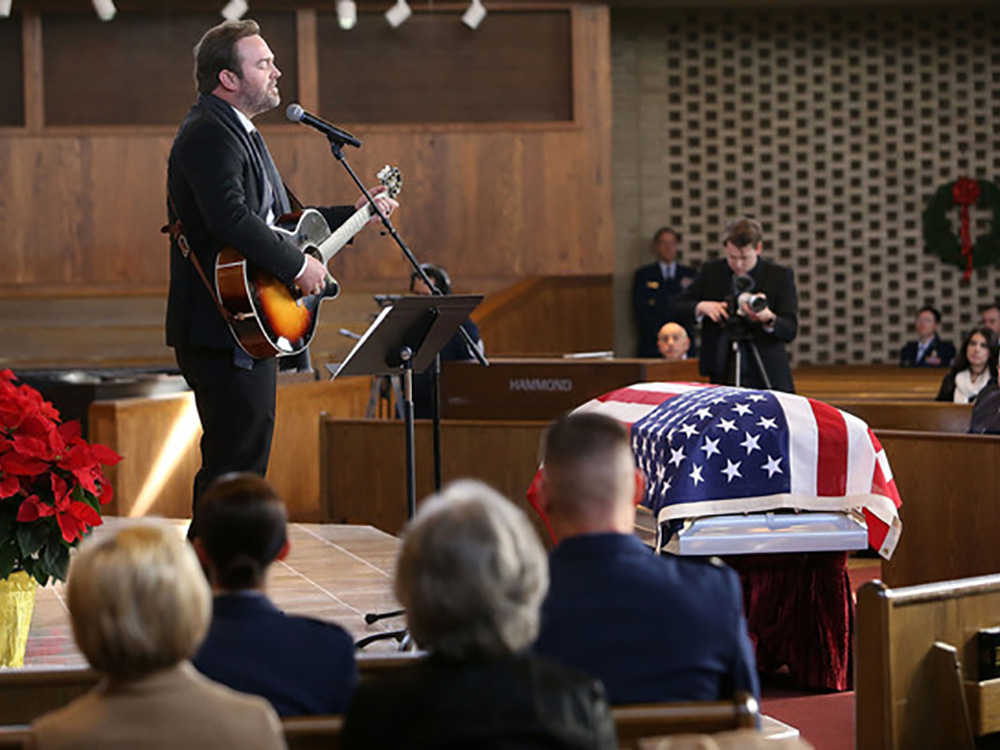 Lee Brice Pays Tribute to U.S. Air Force Major Troy Lee Gilbert During Full Military Honors Funeral Service at Arlington National Cemetery