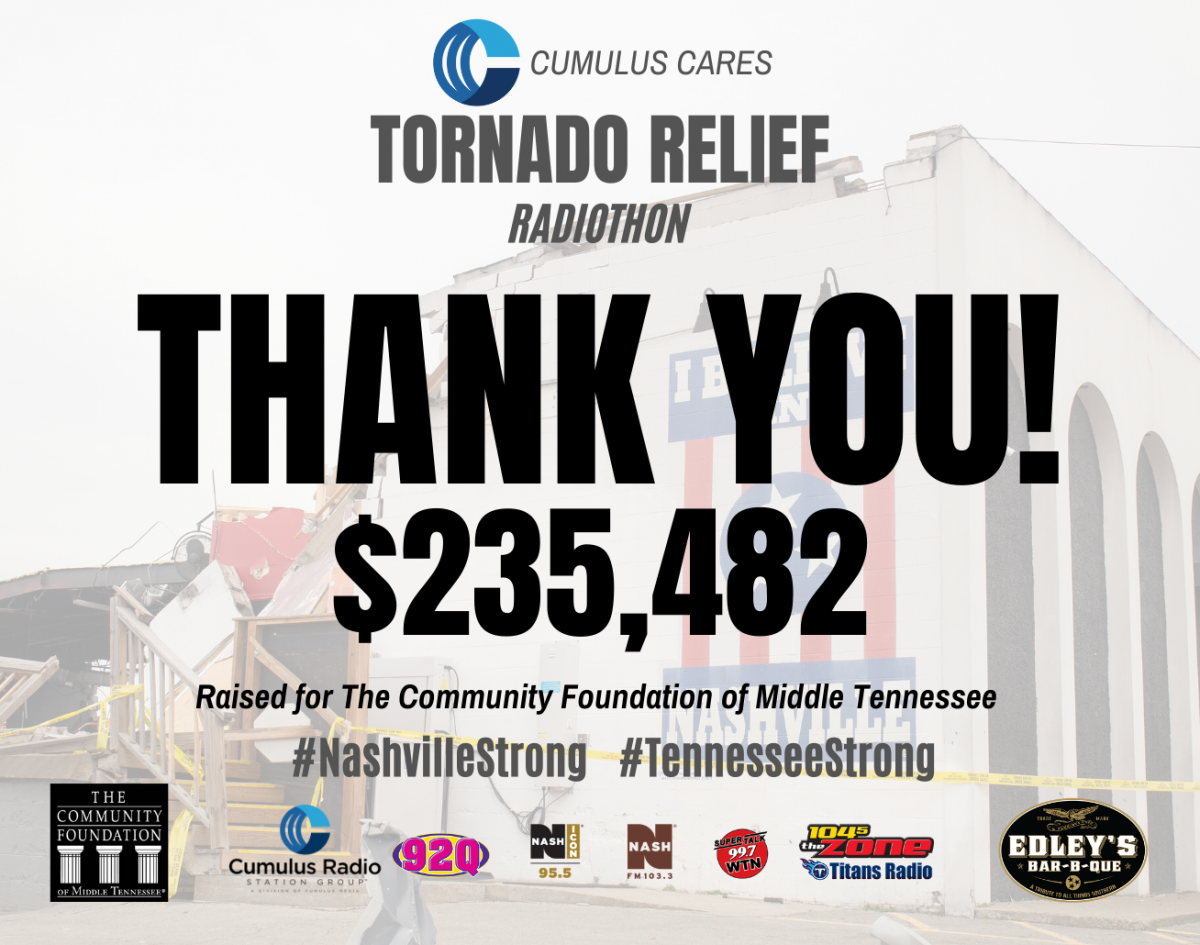 Cumulus Nashville and Edley's Bar-B-Que Collect Over $235,000 During Cumulus Cares Tornado Relief Radiothon