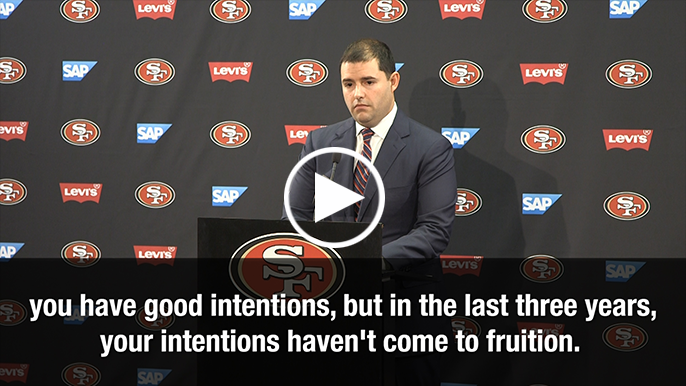 Lowell Cohn and Jed York have a back and forth at press conference