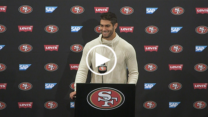 Garoppolo on if he knew what he was doing during side-arm throw to Taylor: 'I always do'