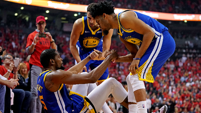 Warriors win Game 5 in Toronto as Durant, Looney leave injured
