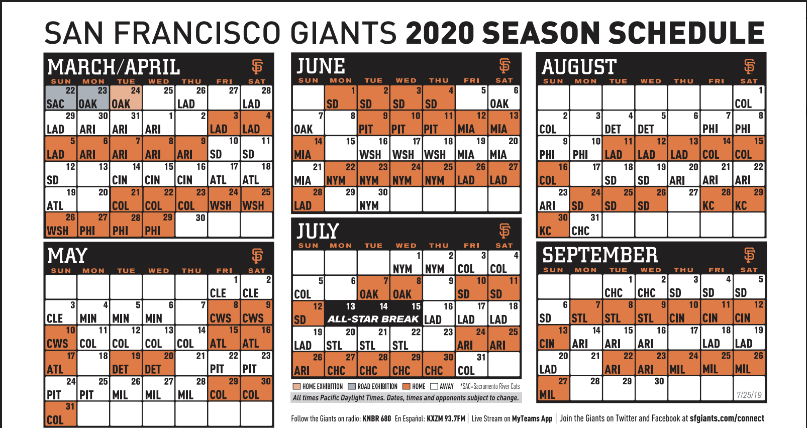 49ers Home Schedule 2020.Giants Announce Tentative 2020 Regular Season Schedule Knbr Af
