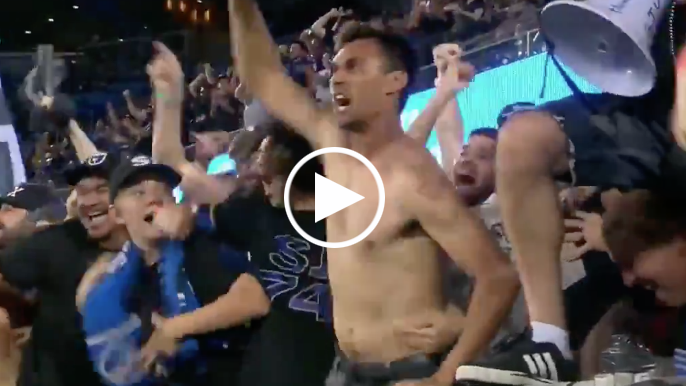 Shirtless, suspended Chris Wondolowski went nuts while sitting with Earthquakes supporters