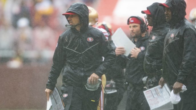 Kyle Shanahan gave game ball to dad, thought about sliding in mud after win over Redskins