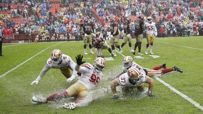 Redskins announcer calls 49ers 'fools' for celebratory slides on soaked field