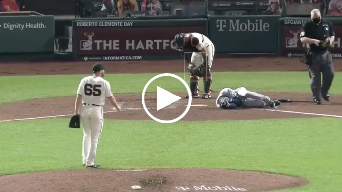Sam Coonrod hits Mariners' Dylan Moore in head with 99 mph fastball