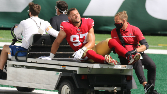 49ers fear ACL tear for Bosa, provide updates on Garoppolo, Thomas, Mostert