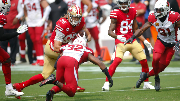 George Kittle unbothered by low hit from from Budda Baker, says he turned off Jets game after injuries