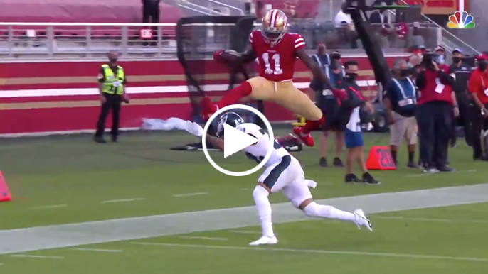 Brandon Aiyuk hurdles defender on absurd 38-yard TD