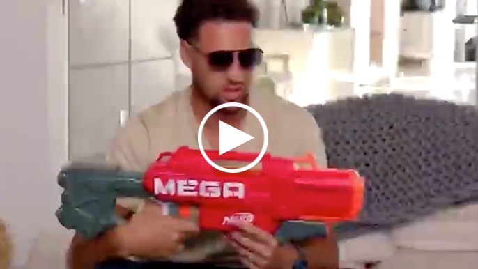 Klay Thompson is now partnered with Nerf, obviously