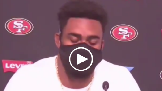 Raheem Mostert gets emotional talking about being away from his family this season