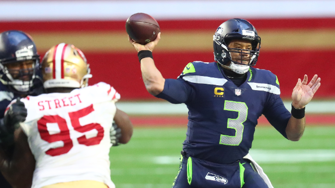 Oddsmaker says 49ers among favorites for Russell Wilson if traded