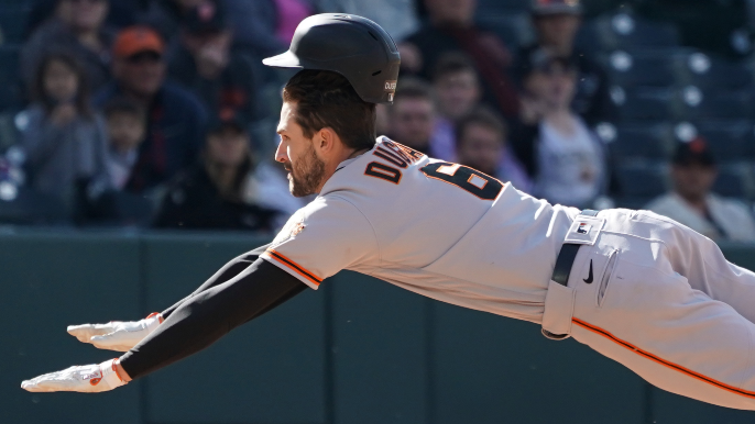 Steven Duggar is running (and bunting) with his Giants chance — and just in time