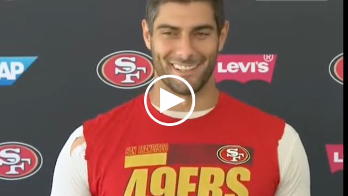 Kyle Shanahan, Jimmy Garoppolo all smiles as they decline to confirm starting QB