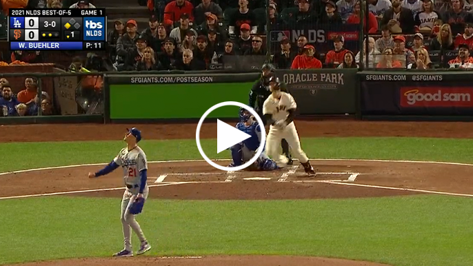 Buster Posey hits two-run, near splash hit in first at-bat of 2021 NLDS