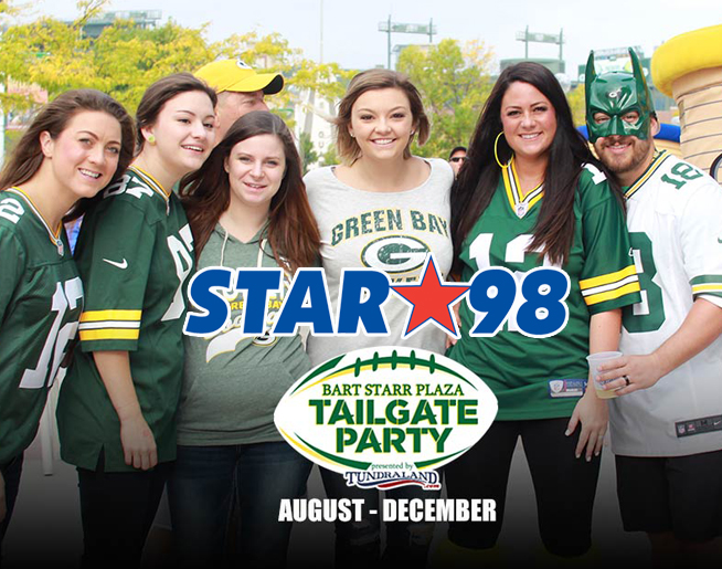 Bart Starr Plaza Tailgate Party with STAR 98 Sunday December 8th at 8:30 AM!