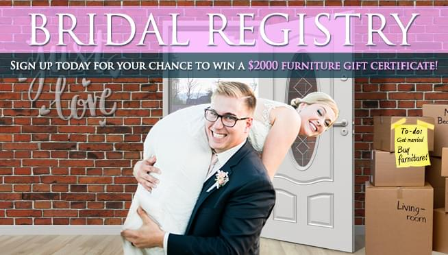 2019 Bridal Registry – $2000 Furniture Giveaway