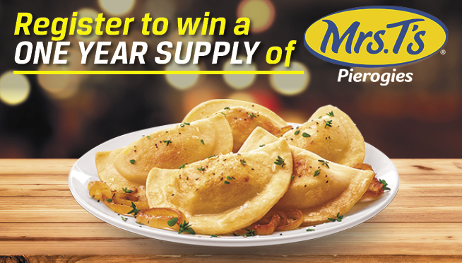 Mrs. T's Pierogies – Register to win a ONE YEAR SUPPLY!