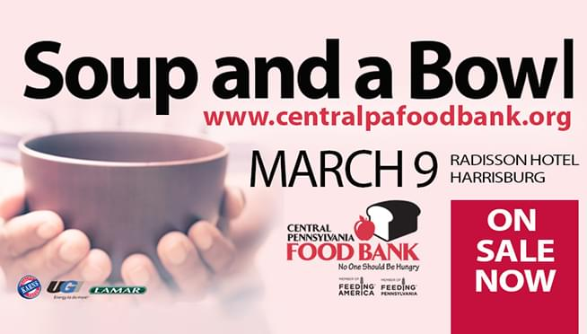 Central Pennsylvania Food Bank's SOUP AND A BOWL set for March 9th