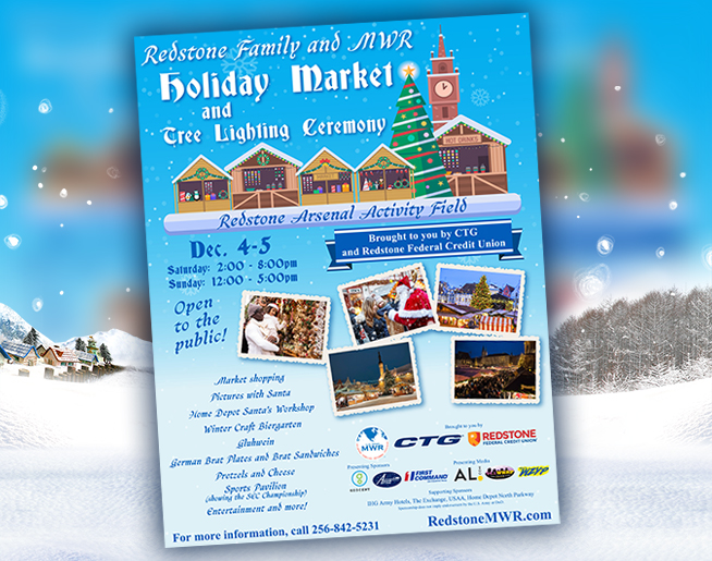 Mark your calendars for the Holiday Market and Tree Lighting Ceremony at Redstone Arsenal!
