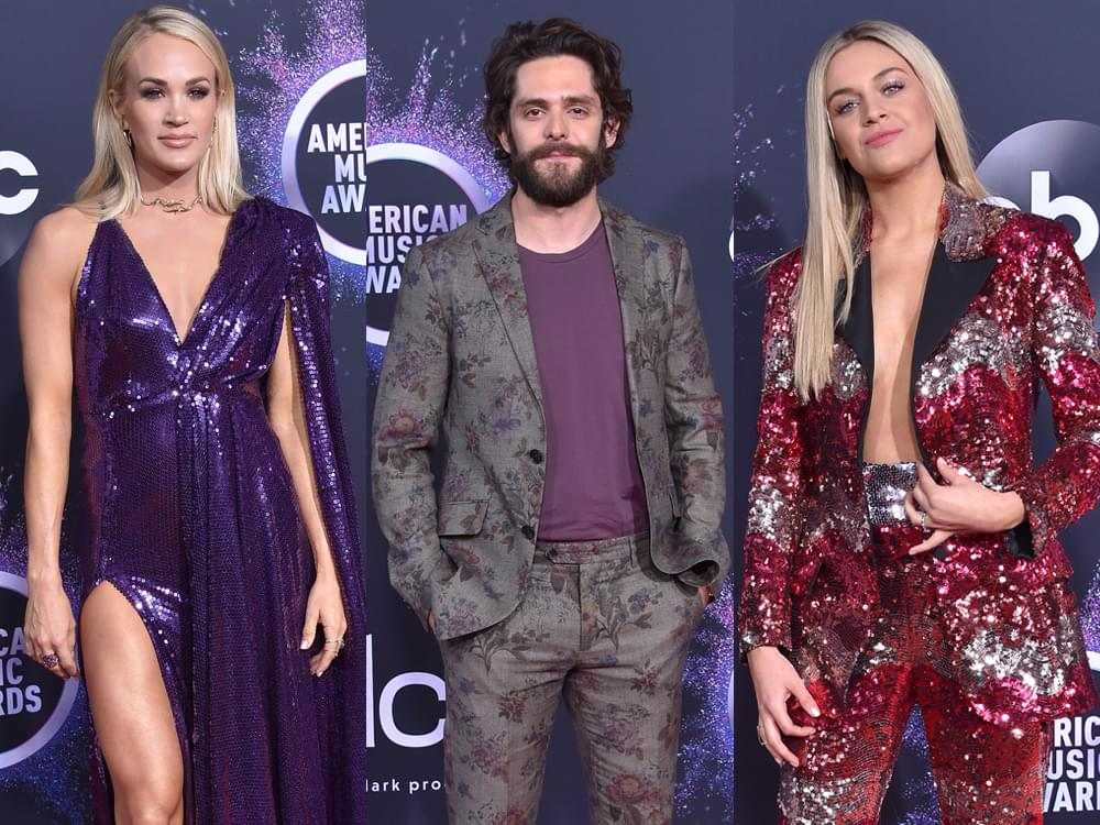 American Music Awards Red Carpet Photo Gallery With Carrie Underwood, Thomas Rhett, Kelsea Ballerini, Dan + Shay, Shania Twain & More