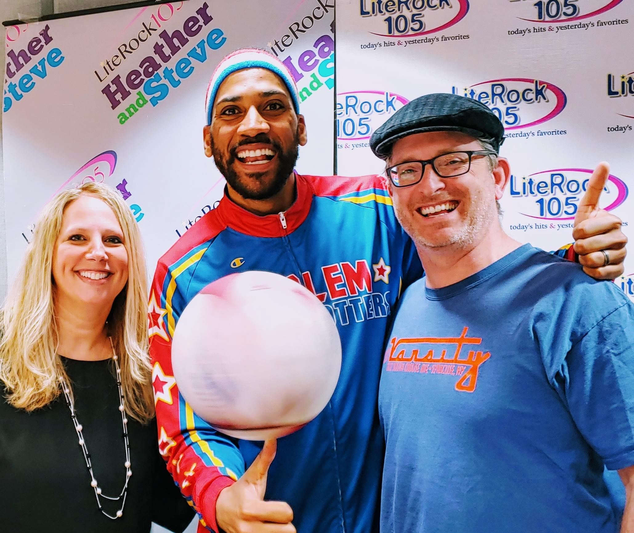 ZEUS from the HARLEM GLOBETROTTERS with Lite Rock 105's Heather & Steve