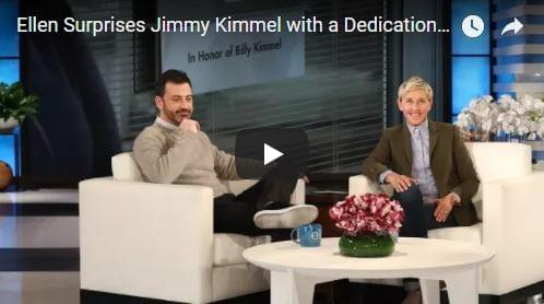 Ellen DeGeneres Surprises Jimmy Kimmel With a Dedication to His Son | E News
