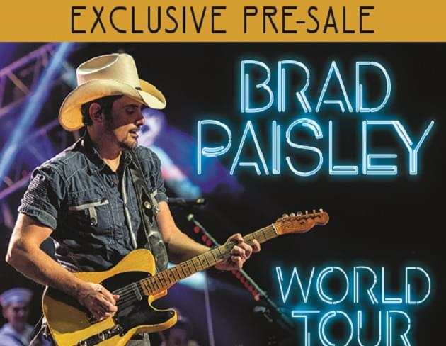 Exclusive: Pre-Sale Code for Brad Paisley Concert Tickets