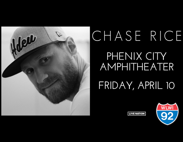 See Chase Rice in Concert at Phenix City Amphitheater