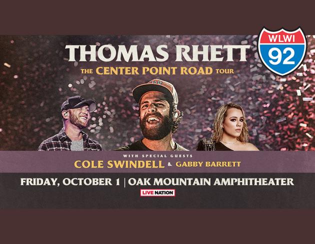 Thomas Rhett, Cole Swindell and Gabby Barrett at Oak Mountain Amphitheatre