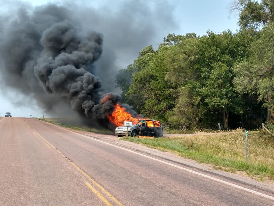 Car Fire Occurs West Of Yankton