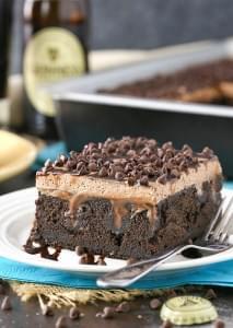 Guinness Chocolate Poke Cake