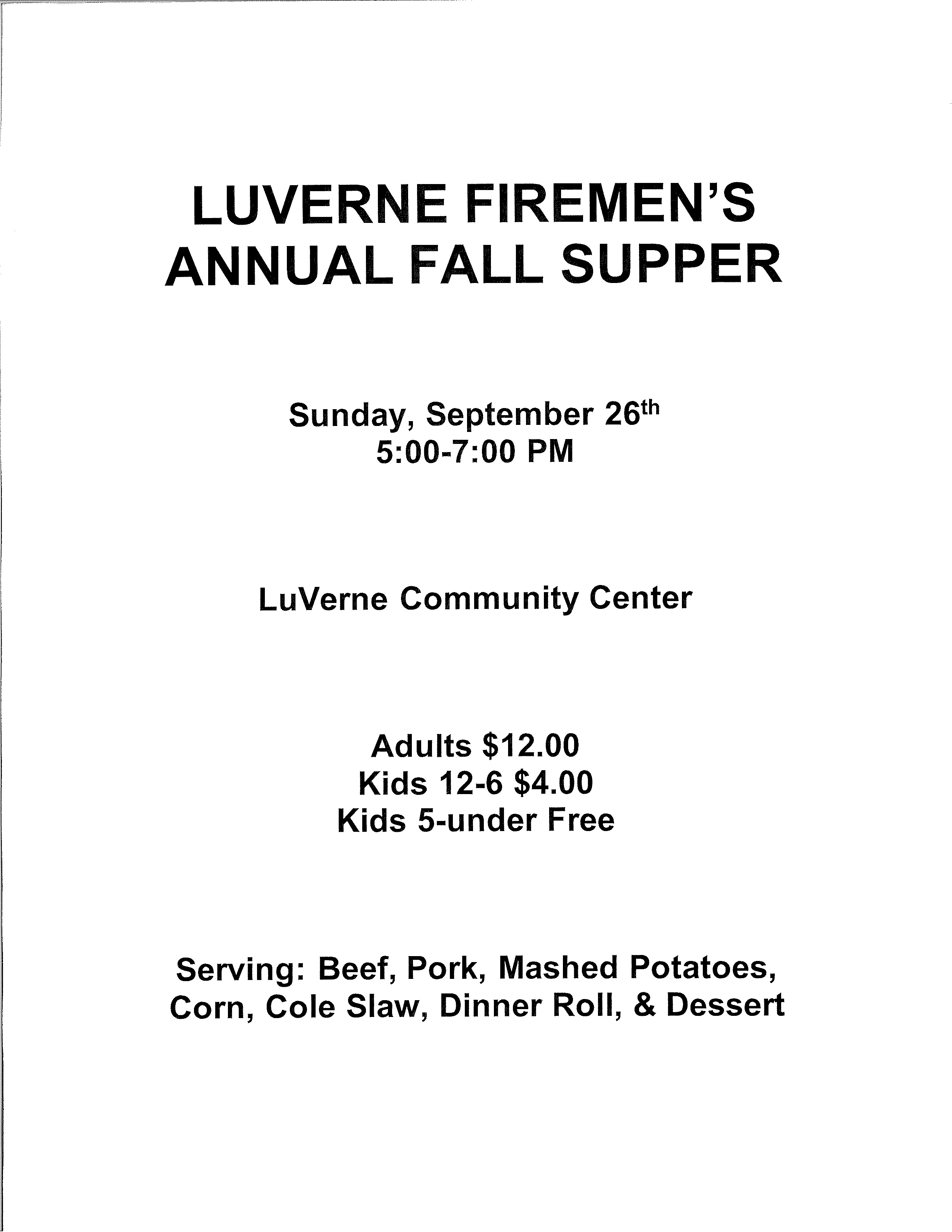 Luverne Firemen's Fall Supper