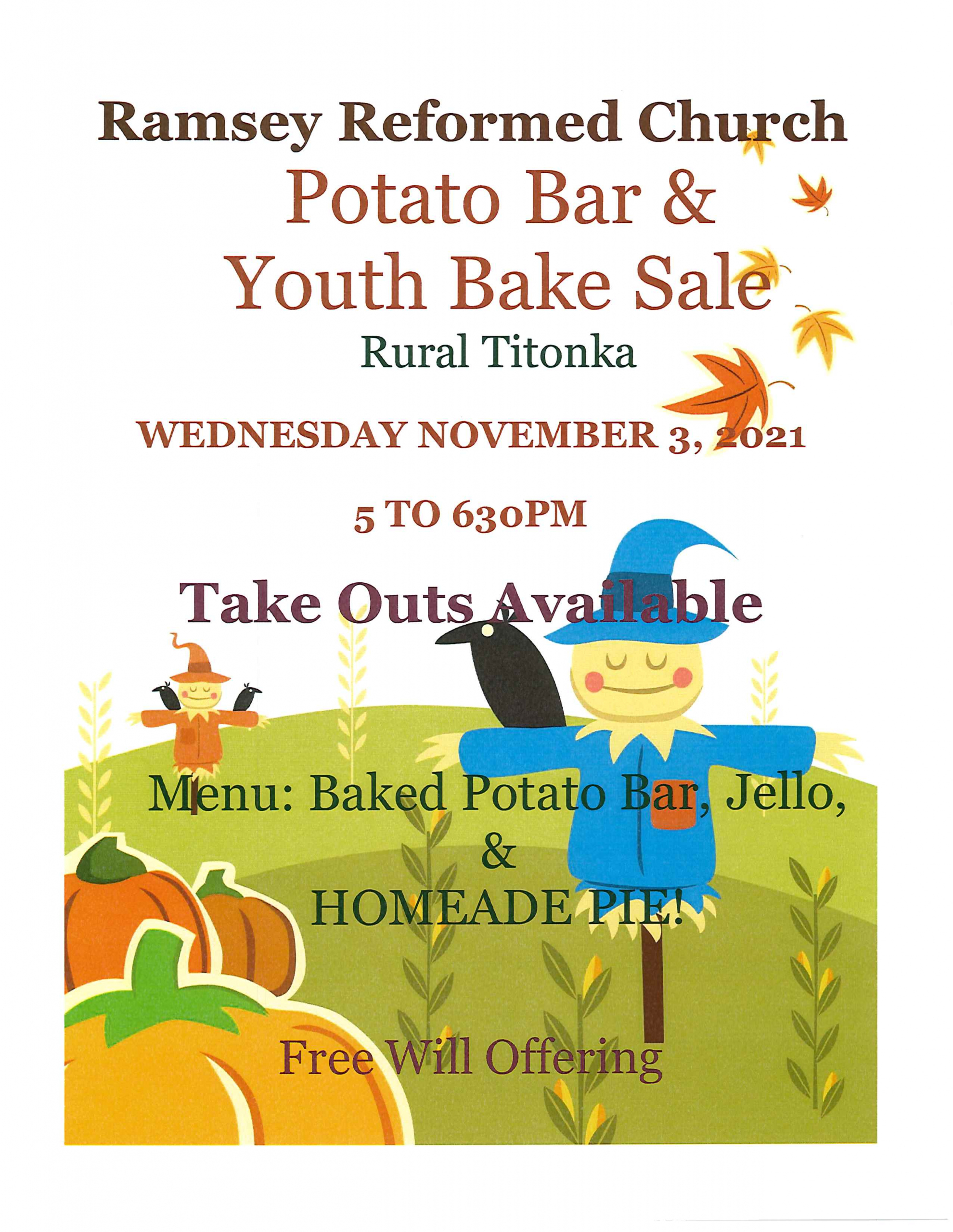 Ramsey Reformed Church Potato Bar and Youth Bake Sale