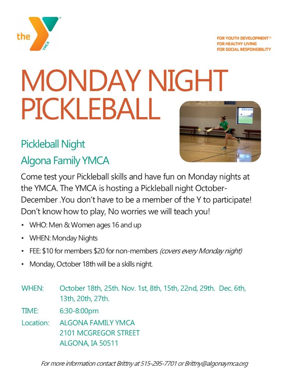 Algona YMCA Monday Night Pickleball