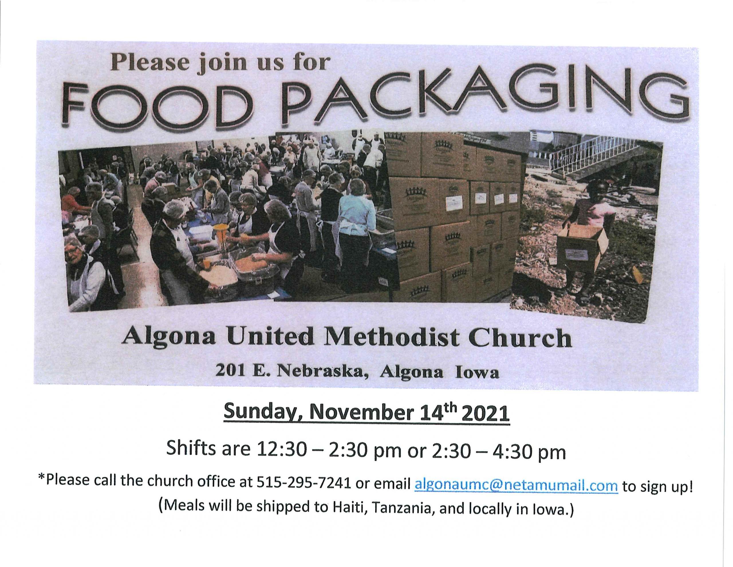 Algona United Methodist Church-Food Packaging