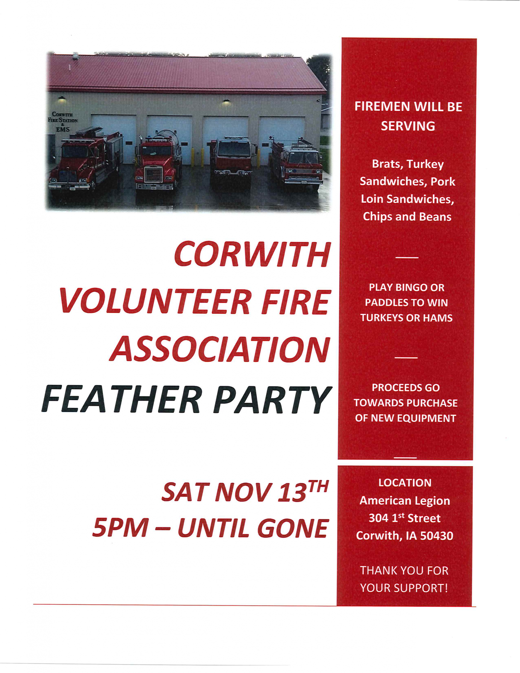 Corwith Volunteer Fire Association Feather Party