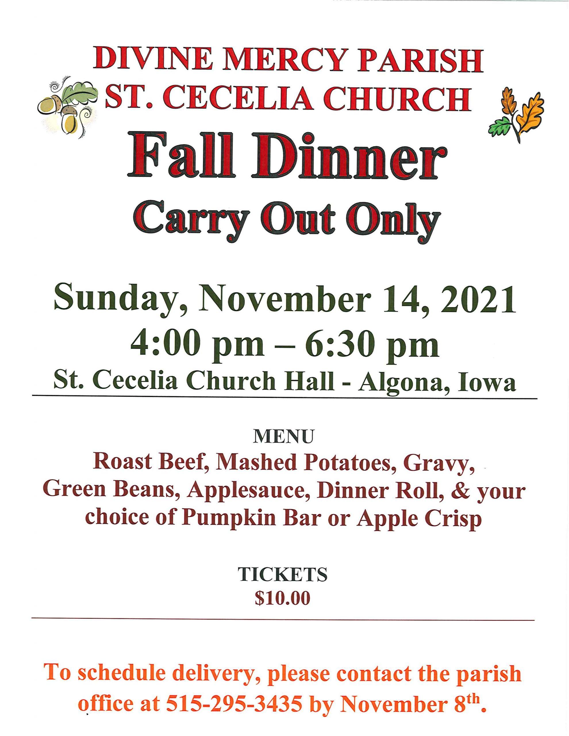 Divine Mercy Parish St. Cecelia Church Fall Dinner