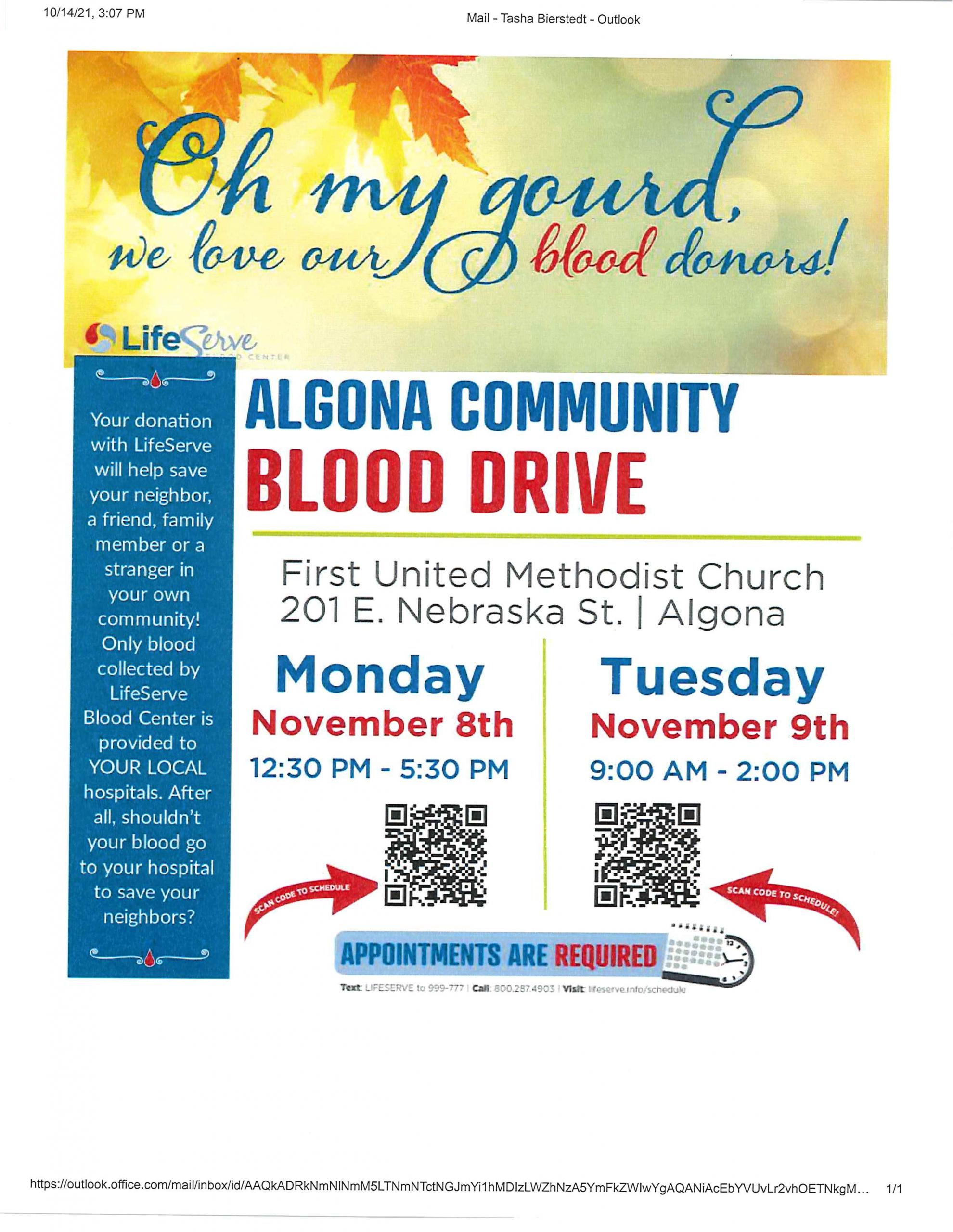 Algona Community Blood Drive