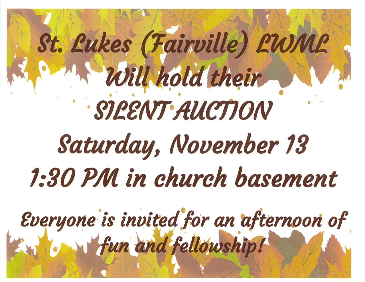 St Lukes (Fairville)LWML Silent Auction