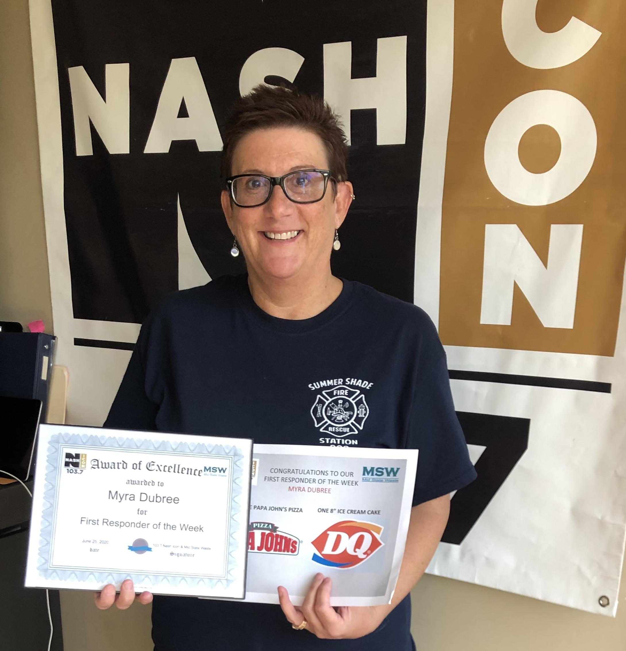 Myra Dubree is our newest First Responder of the Week