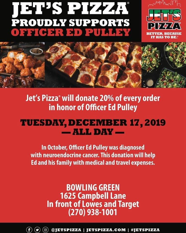 Jet's Pizza will donate to help BGPD Officer Ed Pulley